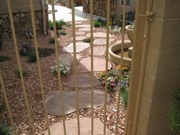 flower garden and flagstone path
