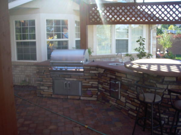 Kitchen under pergola