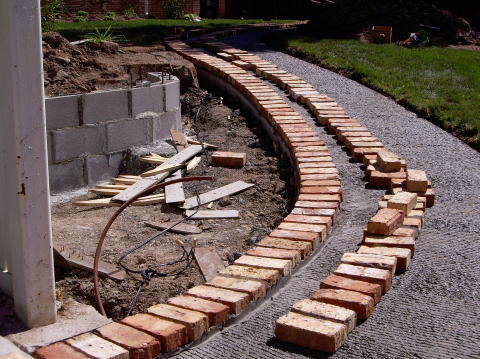 construction of a brick patio