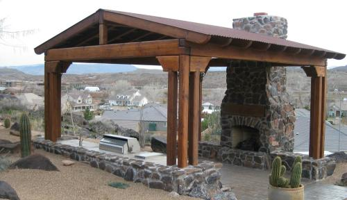 natural stone fireplace and awning