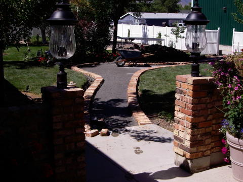 building a brick sidewalk