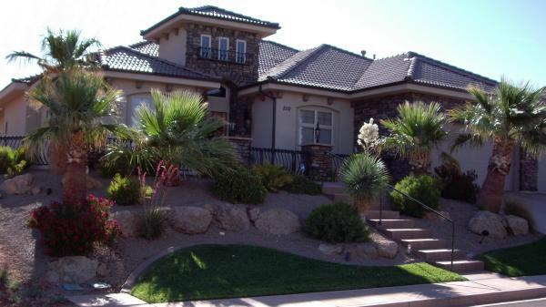 Beautiful front yard landscaping on a slope
