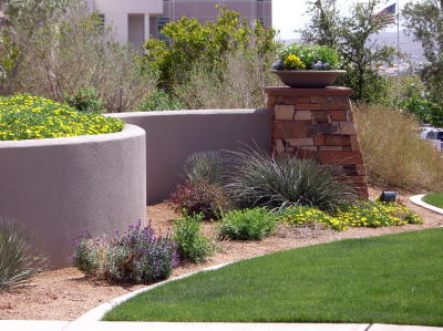 flower garden with curving wall