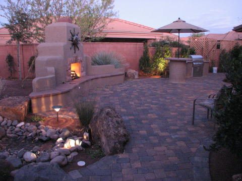 landscaping backyard fireplace