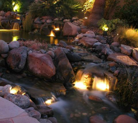 lighted koi pond