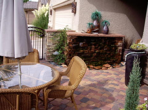 courtyard patio with wall fountain