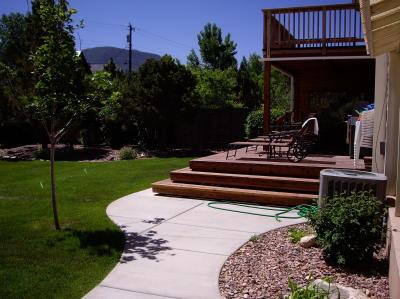 redwood patio with wrap around steps
