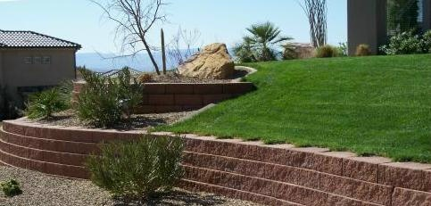 terraces created by retaining a slope