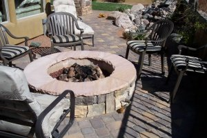 small patio area with fire pit