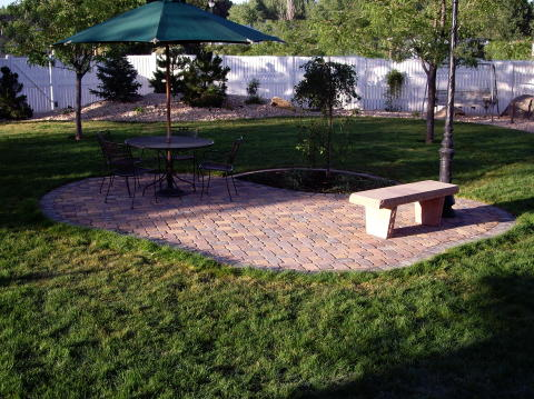 patio in the lawn