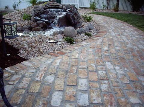 brick sidewalk and patio